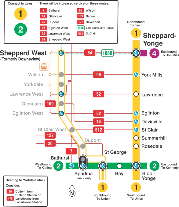 Map showing subway closure between St George and Sheppard West stations.